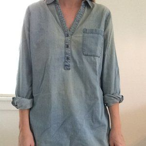 Chambray Half-Button Up Tunic Top
